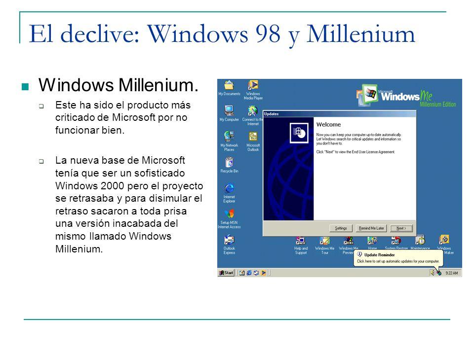 El declive: Windows 98 y Millenium Windows Millenium. Este ha sido el producto más criticado de Microsoft por no funcionar bien. La nueva base de Micr