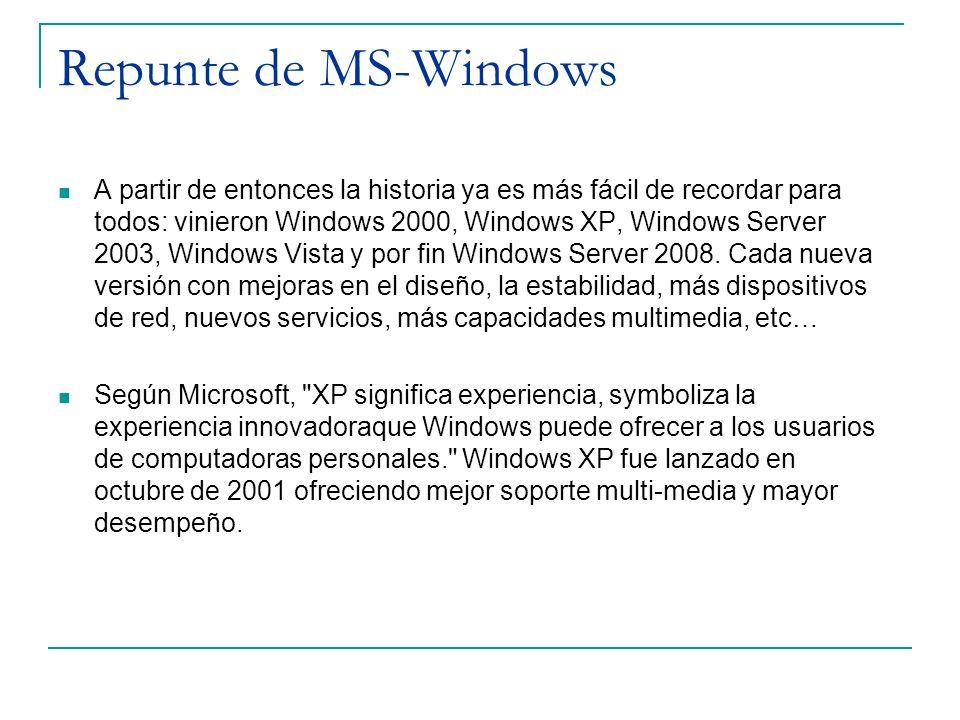 Repunte de MS-Windows A partir de entonces la historia ya es más fácil de recordar para todos: vinieron Windows 2000, Windows XP, Windows Server 2003,