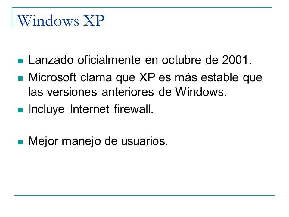 Windows XP Lanzado oficialmente en octubre de 2001. Microsoft clama que XP es más estable que las versiones anteriores de Windows. Incluye Internet fi