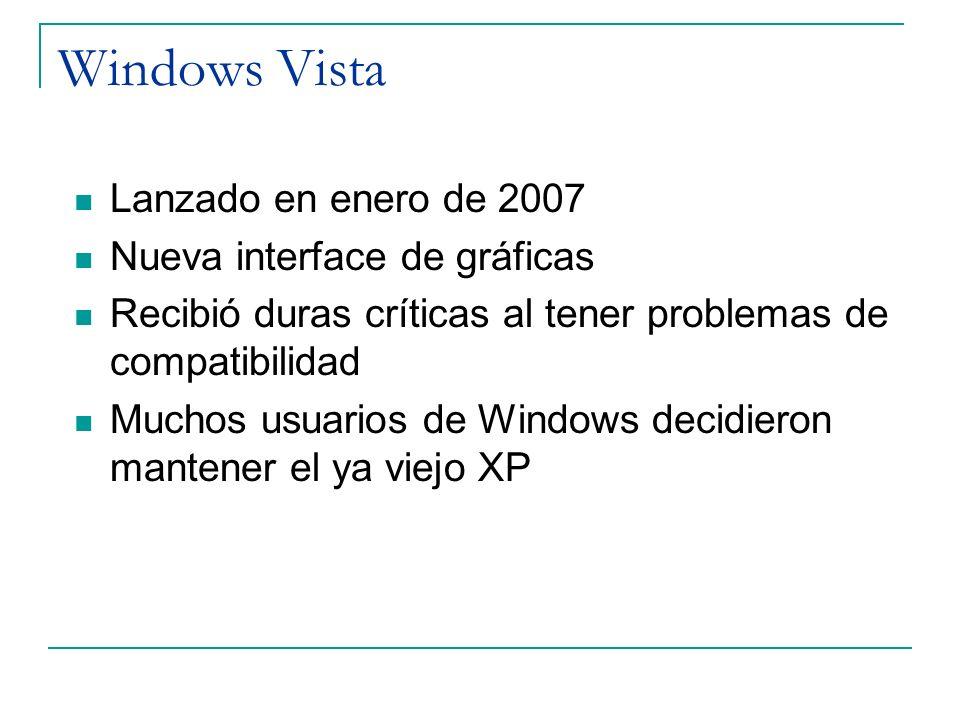Windows Vista Lanzado en enero de 2007 Nueva interface de gráficas Recibió duras críticas al tener problemas de compatibilidad Muchos usuarios de Wind
