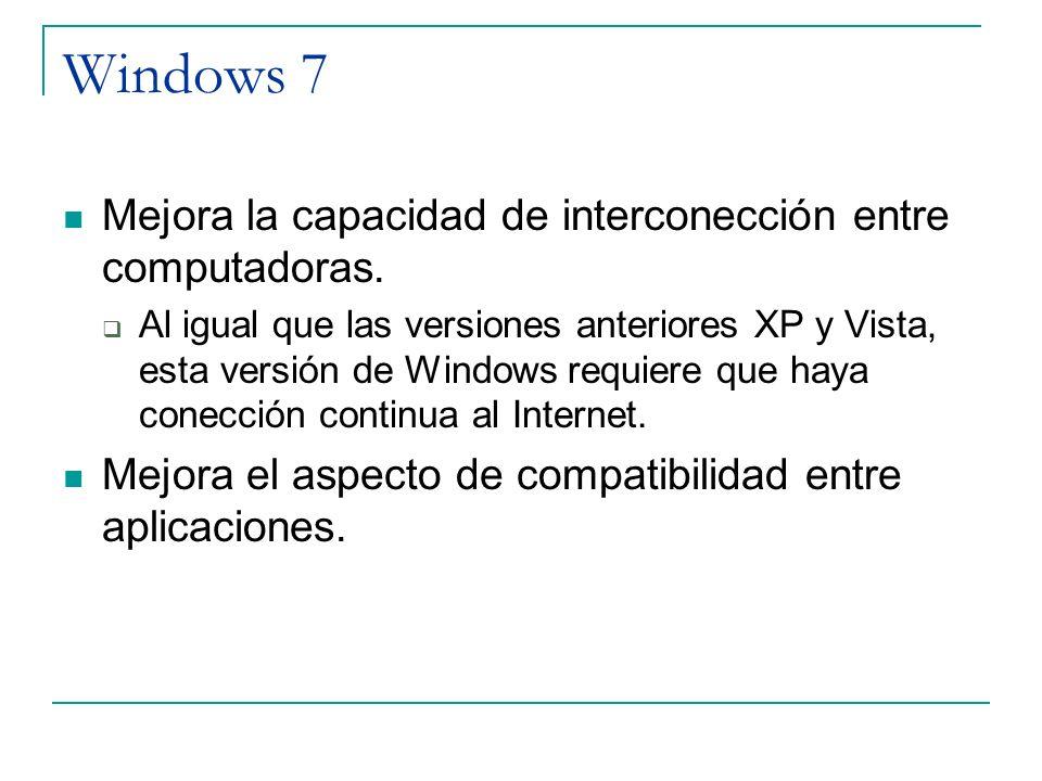 Windows 7 Mejora la capacidad de interconección entre computadoras. Al igual que las versiones anteriores XP y Vista, esta versión de Windows requiere