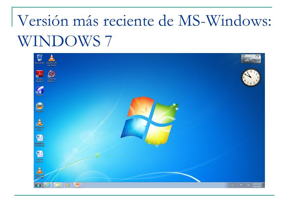 Versión más reciente de MS-Windows: WINDOWS 7