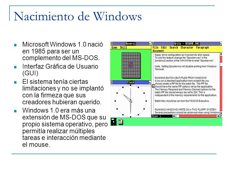 Nacimiento de Windows Microsoft Windows 1.0 nació en 1985 para ser un complemento del MS-DOS. Interfaz Gráfica de Usuario (GUI) El sistema tenía ciert