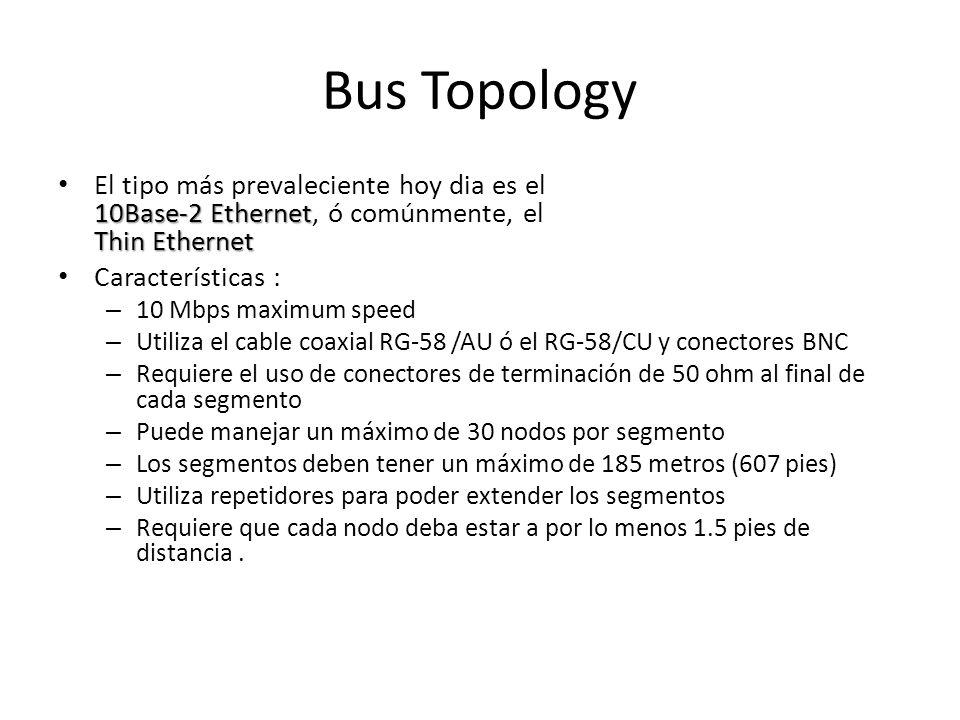 Bus Topology 10Base-2 Ethernet Thin Ethernet El tipo más prevaleciente hoy dia es el 10Base-2 Ethernet, ó comúnmente, el Thin Ethernet Características