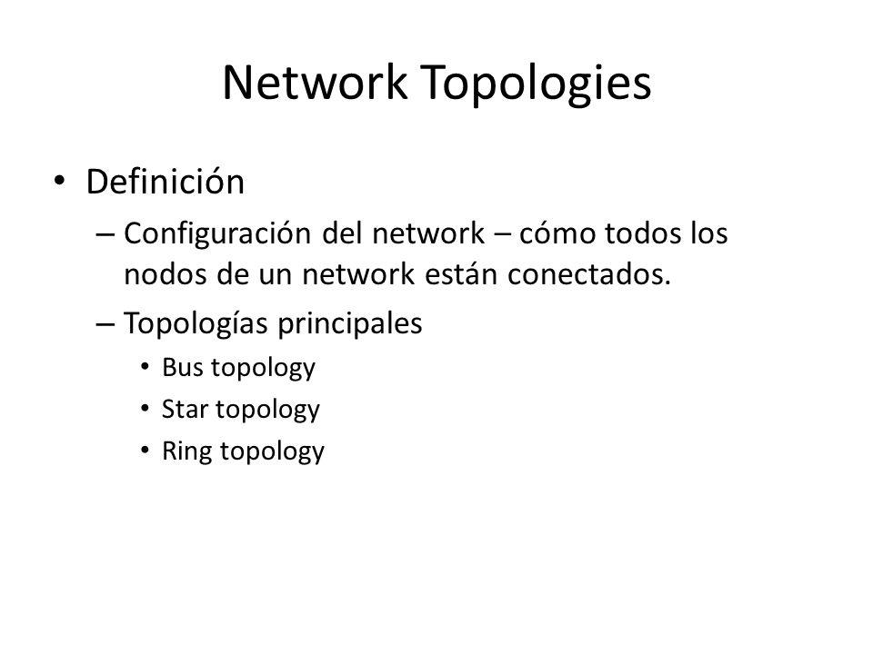 BUS Topology Common Bus Multipoint Topology – Network donde básicamente se utiliza un cable sencillo para conectar a todos los nodos en diferentes localizaciones.