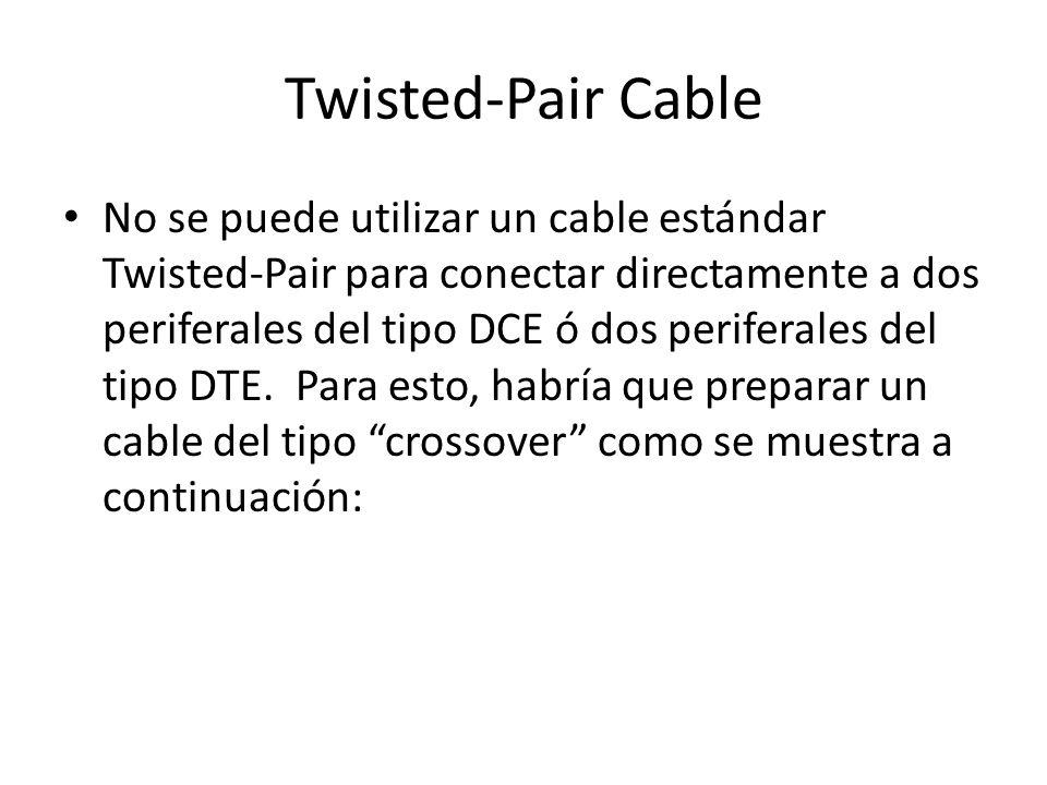 Twisted-Pair Cable No se puede utilizar un cable estándar Twisted-Pair para conectar directamente a dos periferales del tipo DCE ó dos periferales del tipo DTE.