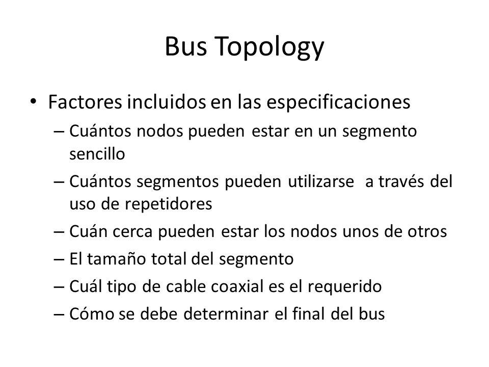 Bus Topology Factores incluidos en las especificaciones – Cuántos nodos pueden estar en un segmento sencillo – Cuántos segmentos pueden utilizarse a t