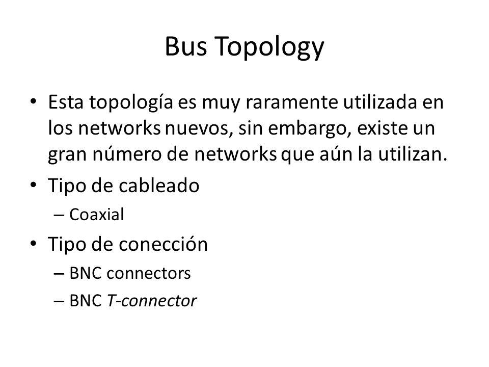 Bus Topology Esta topología es muy raramente utilizada en los networks nuevos, sin embargo, existe un gran número de networks que aún la utilizan. Tip