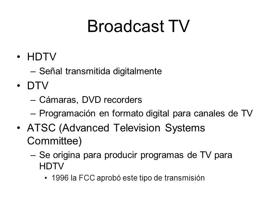 Broadcast TV HDTV –Señal transmitida digitalmente DTV –Cámaras, DVD recorders –Programación en formato digital para canales de TV ATSC (Advanced Telev