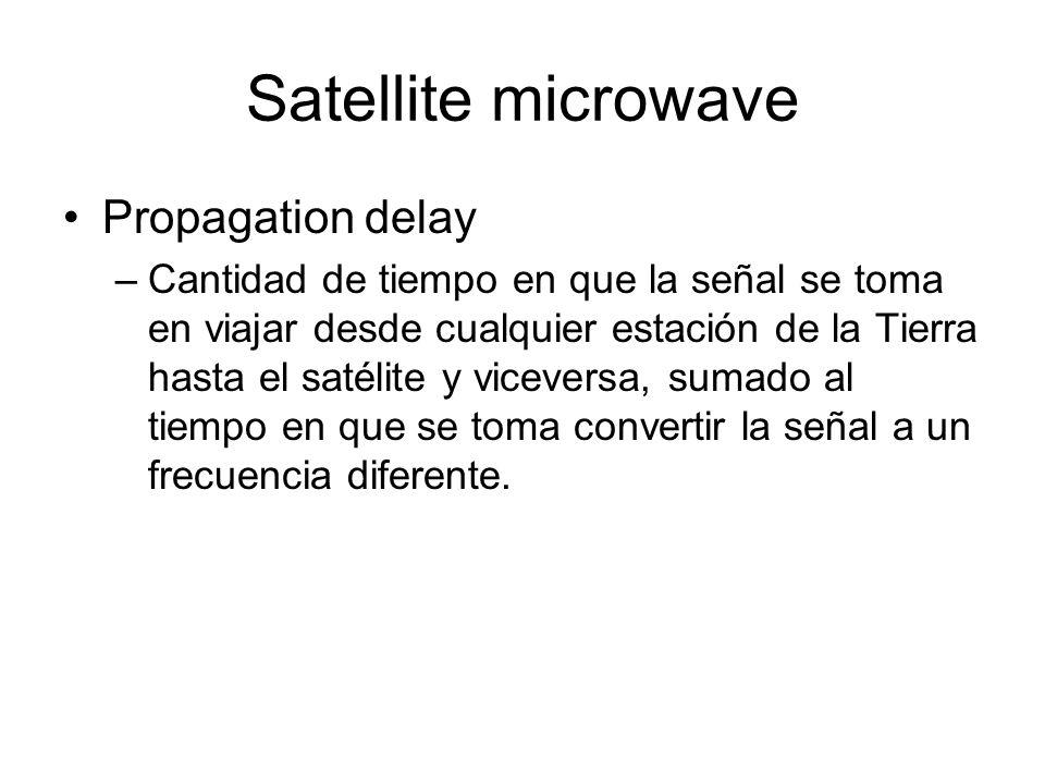 Satellite microwave Propagation delay –Cantidad de tiempo en que la señal se toma en viajar desde cualquier estación de la Tierra hasta el satélite y