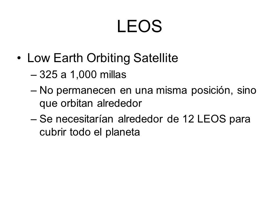 LEOS Low Earth Orbiting Satellite –325 a 1,000 millas –No permanecen en una misma posición, sino que orbitan alrededor –Se necesitarían alrededor de 1