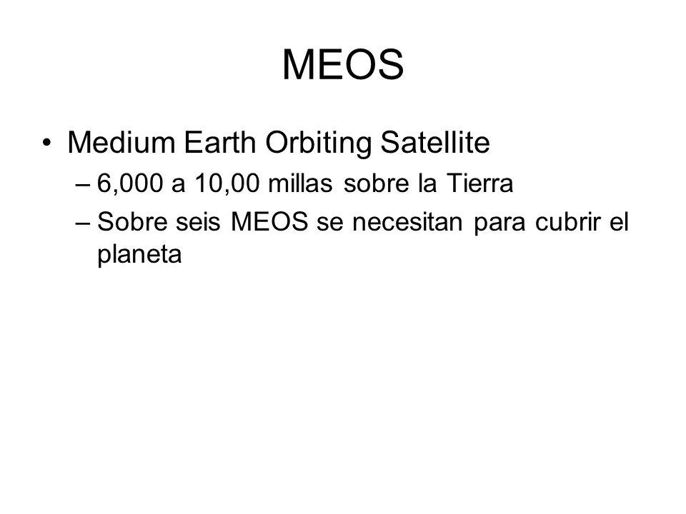 MEOS Medium Earth Orbiting Satellite –6,000 a 10,00 millas sobre la Tierra –Sobre seis MEOS se necesitan para cubrir el planeta