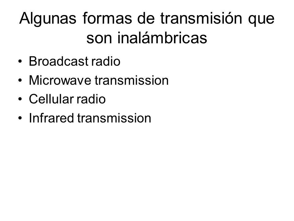 Algunas formas de transmisión que son inalámbricas Broadcast radio Microwave transmission Cellular radio Infrared transmission