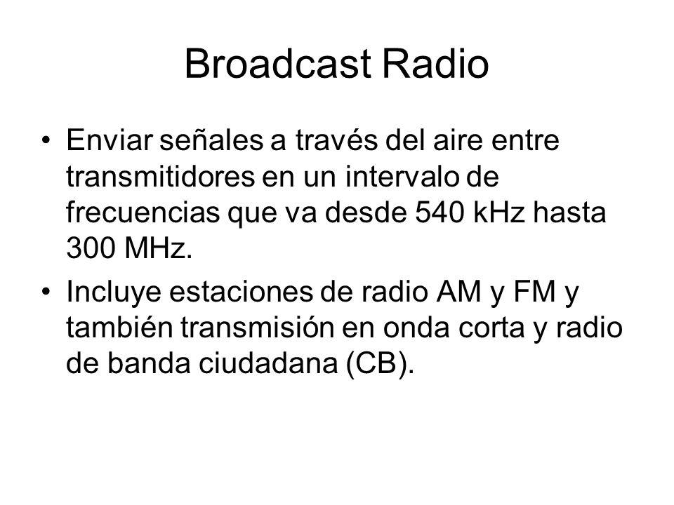 Broadcast Radio Enviar señales a través del aire entre transmitidores en un intervalo de frecuencias que va desde 540 kHz hasta 300 MHz. Incluye estac
