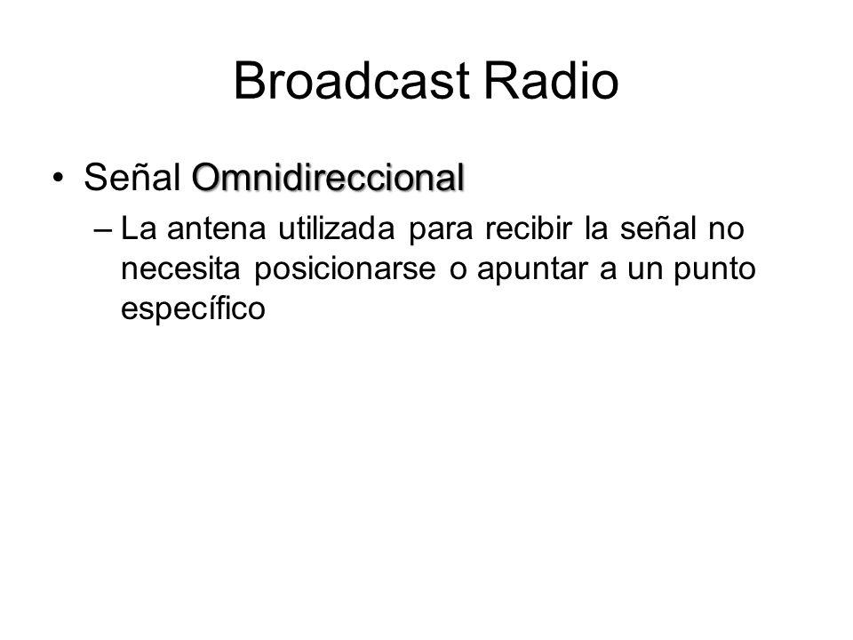 Broadcast Radio OmnidireccionalSeñal Omnidireccional –La antena utilizada para recibir la señal no necesita posicionarse o apuntar a un punto específi
