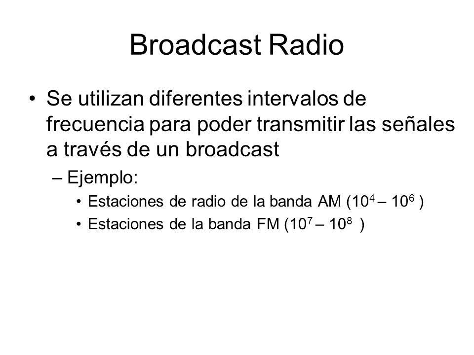 Broadcast Radio Se utilizan diferentes intervalos de frecuencia para poder transmitir las señales a través de un broadcast –Ejemplo: Estaciones de rad