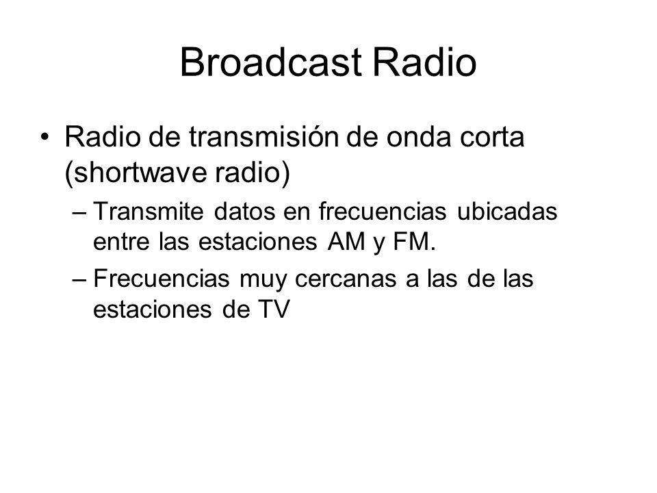 Broadcast Radio Radio de transmisión de onda corta (shortwave radio) –Transmite datos en frecuencias ubicadas entre las estaciones AM y FM. –Frecuenci