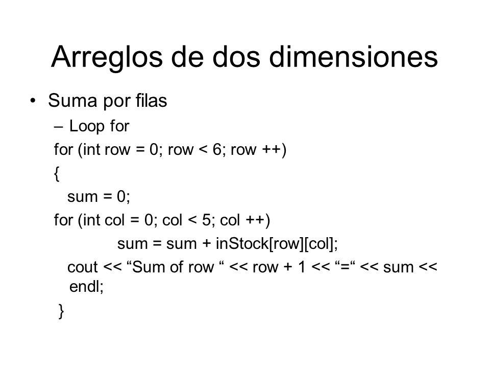 Arreglos de dos dimensiones Suma por filas –Loop for for (int row = 0; row < 6; row ++) { sum = 0; for (int col = 0; col < 5; col ++) sum = sum + inSt