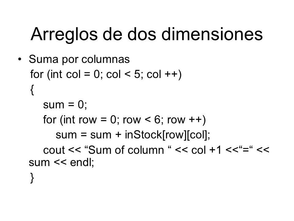 Arreglos de dos dimensiones Suma por columnas for (int col = 0; col < 5; col ++) { sum = 0; for (int row = 0; row < 6; row ++) sum = sum + inStock[row