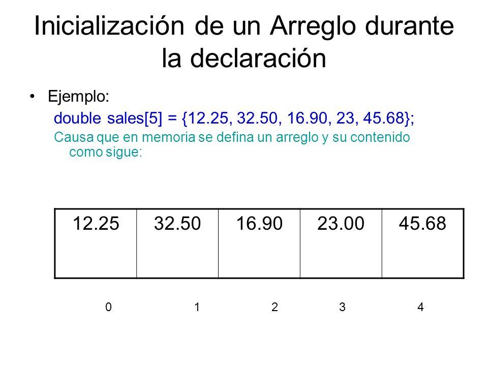 Inicialización de un Arreglo durante la declaración Ejemplo: double sales[5] = {12.25, 32.50, 16.90, 23, 45.68}; Causa que en memoria se defina un arr