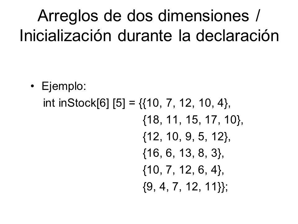 Arreglos de dos dimensiones / Inicialización durante la declaración Ejemplo: int inStock[6] [5] = {{10, 7, 12, 10, 4}, {18, 11, 15, 17, 10}, {12, 10,