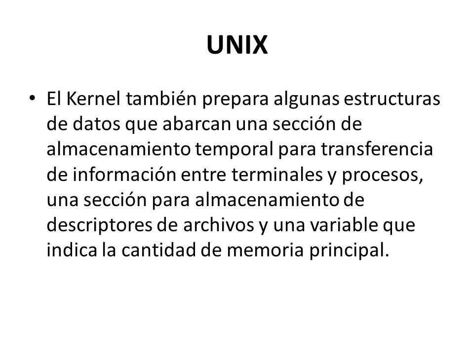 UNIX El Kernel también prepara algunas estructuras de datos que abarcan una sección de almacenamiento temporal para transferencia de información entre