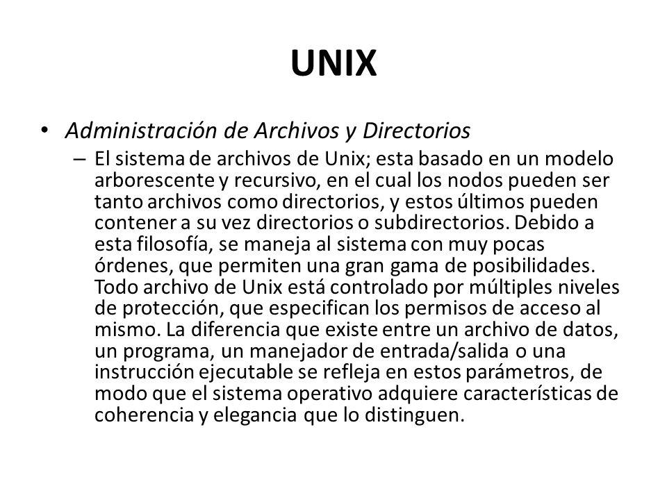 UNIX Administración de Archivos y Directorios – El sistema de archivos de Unix; esta basado en un modelo arborescente y recursivo, en el cual los nodo