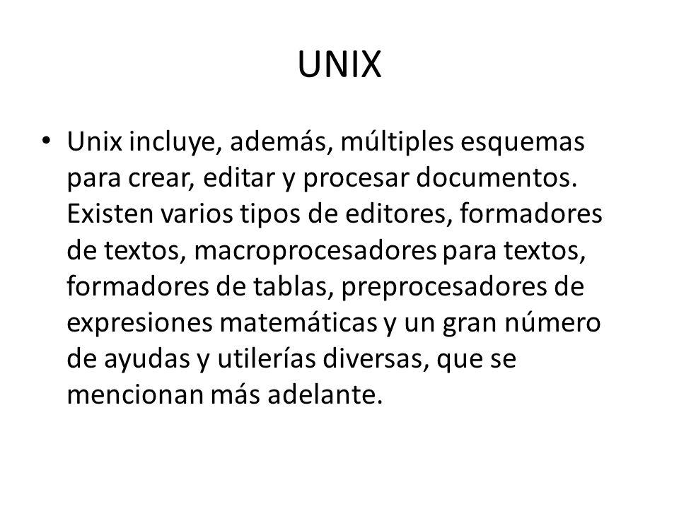 UNIX Unix incluye, además, múltiples esquemas para crear, editar y procesar documentos. Existen varios tipos de editores, formadores de textos, macrop