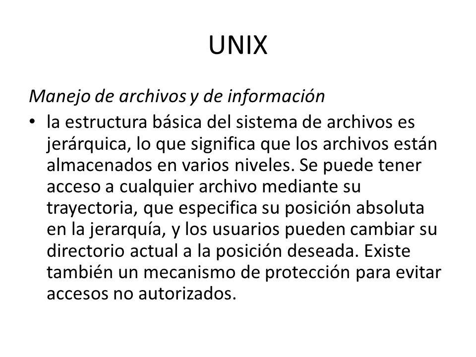 UNIX Manejo de archivos y de información la estructura básica del sistema de archivos es jerárquica, lo que significa que los archivos están almacenad