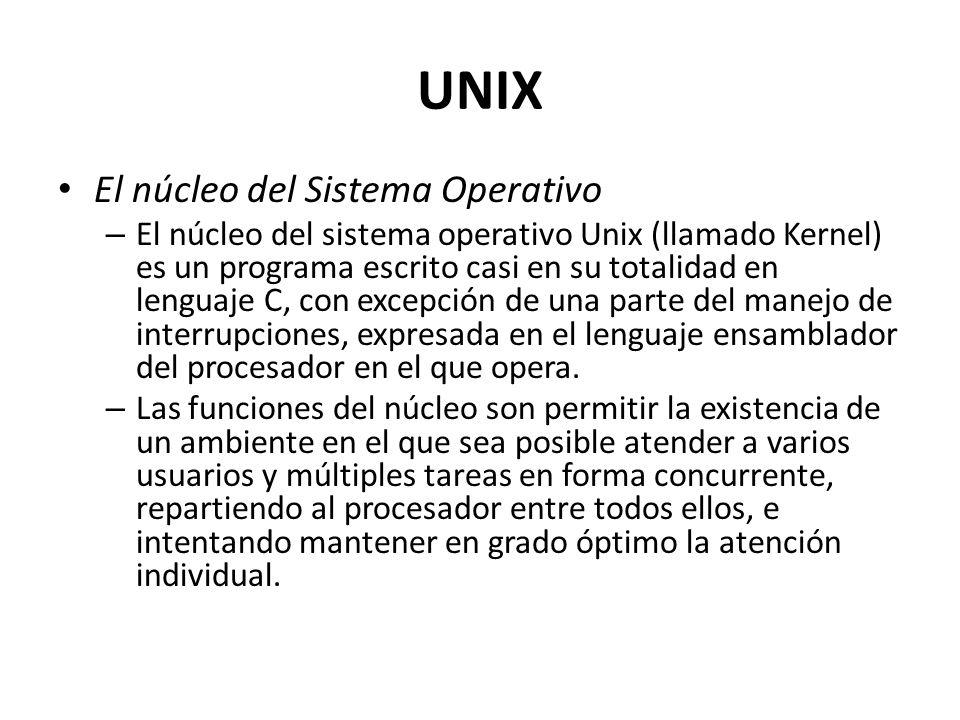El núcleo del Sistema Operativo – El núcleo del sistema operativo Unix (llamado Kernel) es un programa escrito casi en su totalidad en lenguaje C, con