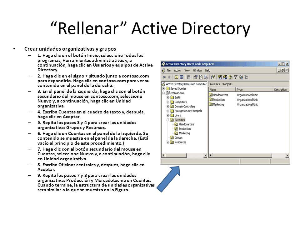 Rellenar Active Directory Crear unidades organizativas y grupos – 1. Haga clic en el botón Inicio, seleccione Todos los programas, Herramientas admini