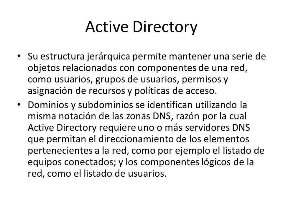 Estructura Un ejemplo de la estructura descendente (o herencia), es que si un usuario pertenece a un dominio, será reconocido en todo el árbol generado a partir de ese dominio, sin necesidad de pertenecer a cada uno de los subdominios.