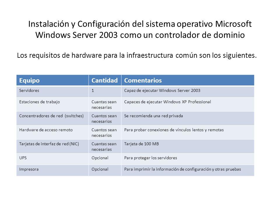 Instalación y Configuración del sistema operativo Microsoft Windows Server 2003 como un controlador de dominio Los requisitos de hardware para la infr