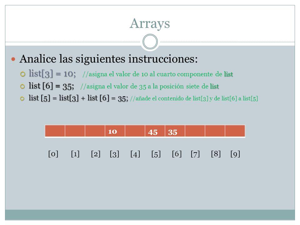 Arrays Analice las siguientes instrucciones: list[3] = 10; list list[3] = 10; //asigna el valor de 10 al cuarto componente de list list [6] = 35; list