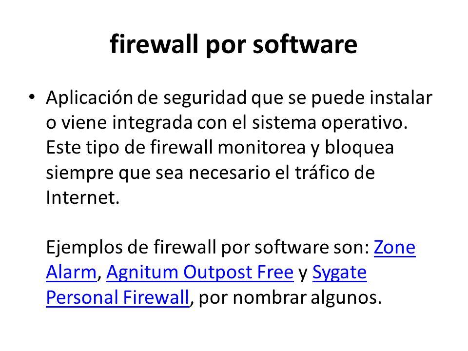 firewall por software Aplicación de seguridad que se puede instalar o viene integrada con el sistema operativo. Este tipo de firewall monitorea y bloq