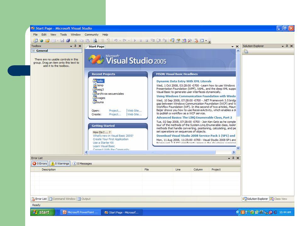 Manejo de Archivos de Datos en Visual Basic Visual Basic 6.0 (para abrir un archivo en modo Input) Open DATA.TXT For Input As #1 (para leer los datos en cada record) Input #1, dato1, dato2, dato3 (para cerrar el archivo) Close #1 Visual Basic.Net (para abrir un archivo en modo Input) Dim readerVar As IO.StreamReader readerVar = IO.File.OpenText(DATA.TXT) (para leer los datos en el archivo) strVar = readerVar.ReadLine numVar = CDbl(readerVar.ReadLine) (para finalizar la comunicación) readerVar.Close()