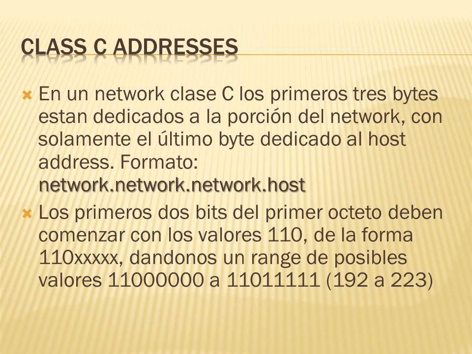 network.network.network.host En un network clase C los primeros tres bytes estan dedicados a la porción del network, con solamente el último byte dedicado al host address.