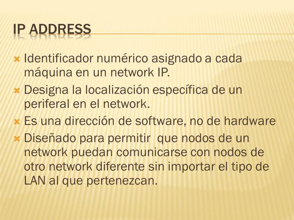 Identificador numérico asignado a cada máquina en un network IP.