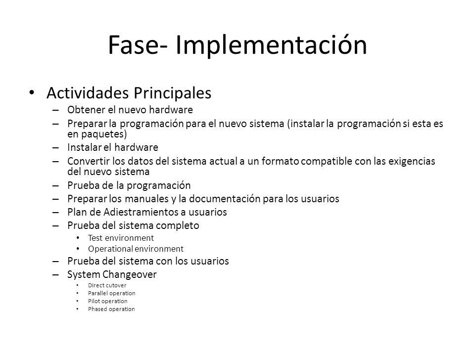 Fase- Implementación Actividades Principales – Obtener el nuevo hardware – Preparar la programación para el nuevo sistema (instalar la programación si