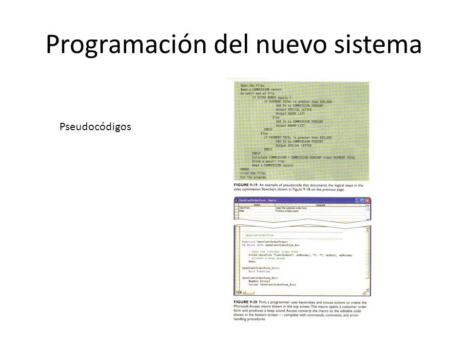 Programación del nuevo sistema Pseudocódigos