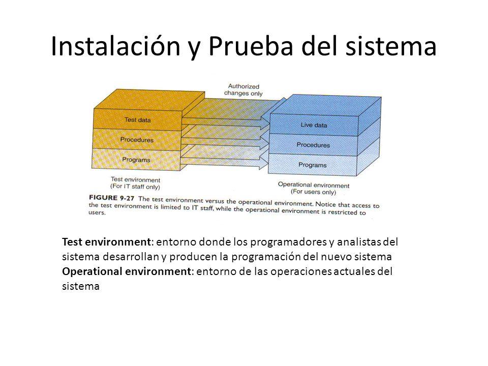 Instalación y Prueba del sistema Test environment: entorno donde los programadores y analistas del sistema desarrollan y producen la programación del nuevo sistema Operational environment: entorno de las operaciones actuales del sistema