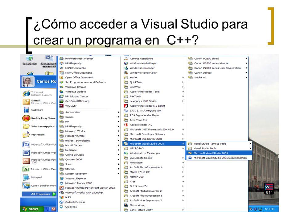 ¿Cómo acceder a Visual Studio para crear un programa en C++?