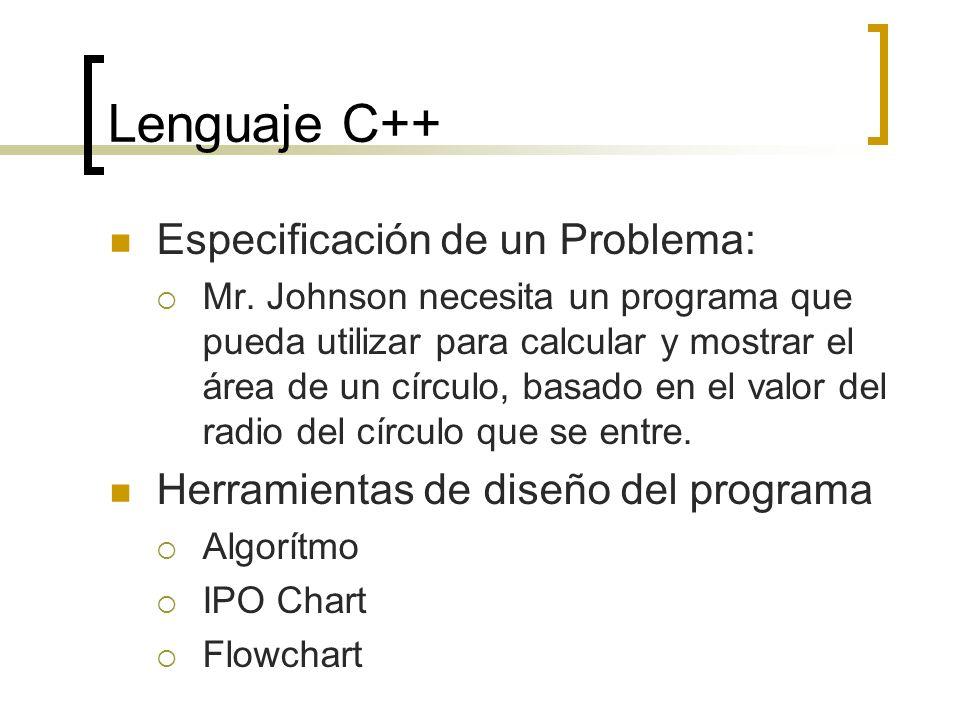 Lenguaje C++ Especificación de un Problema: Mr. Johnson necesita un programa que pueda utilizar para calcular y mostrar el área de un círculo, basado