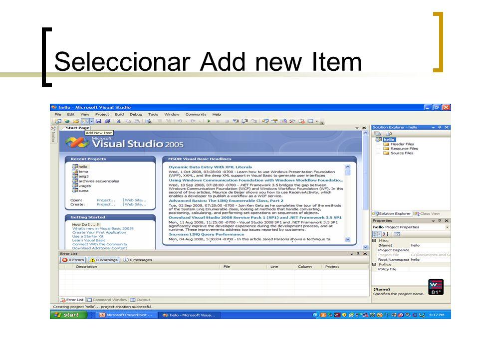 Seleccionar Add new Item