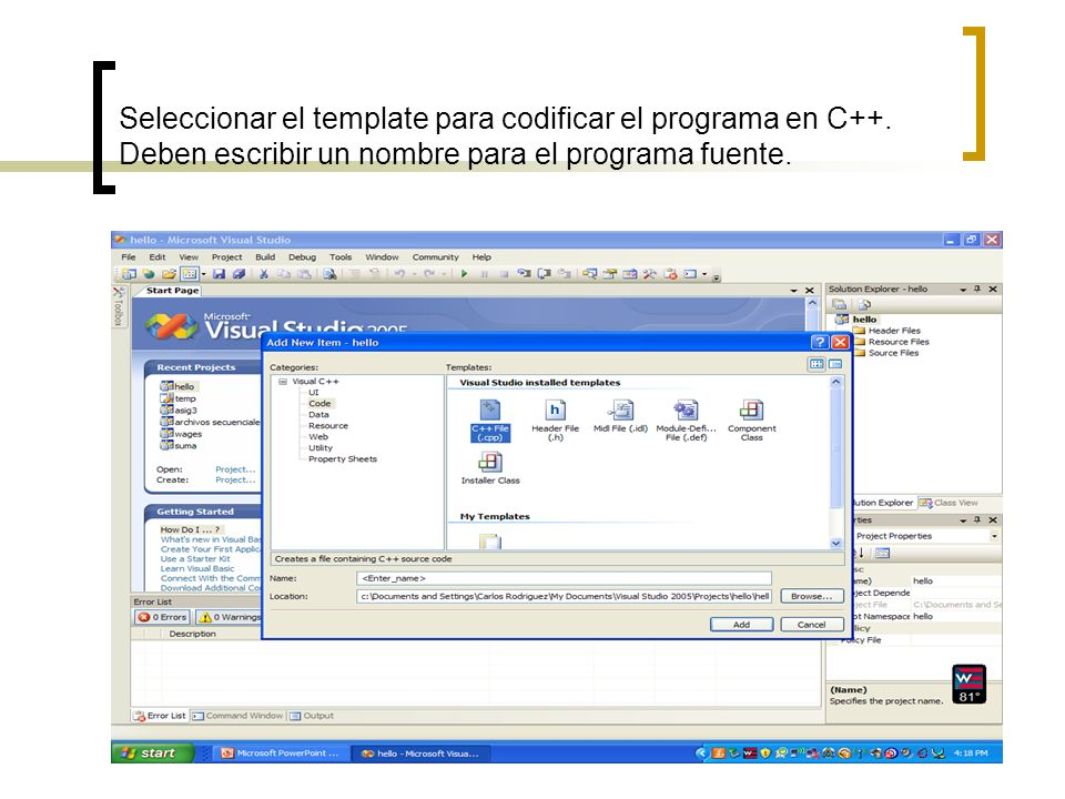 Seleccionar el template para codificar el programa en C++. Deben escribir un nombre para el programa fuente.