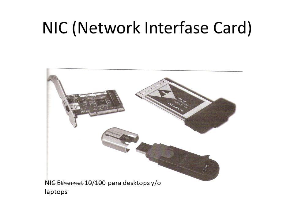NIC (Network Interfase Card) Tipos de NIC – Half-duplex – Full-duplex – Server NIC – Varios puertos