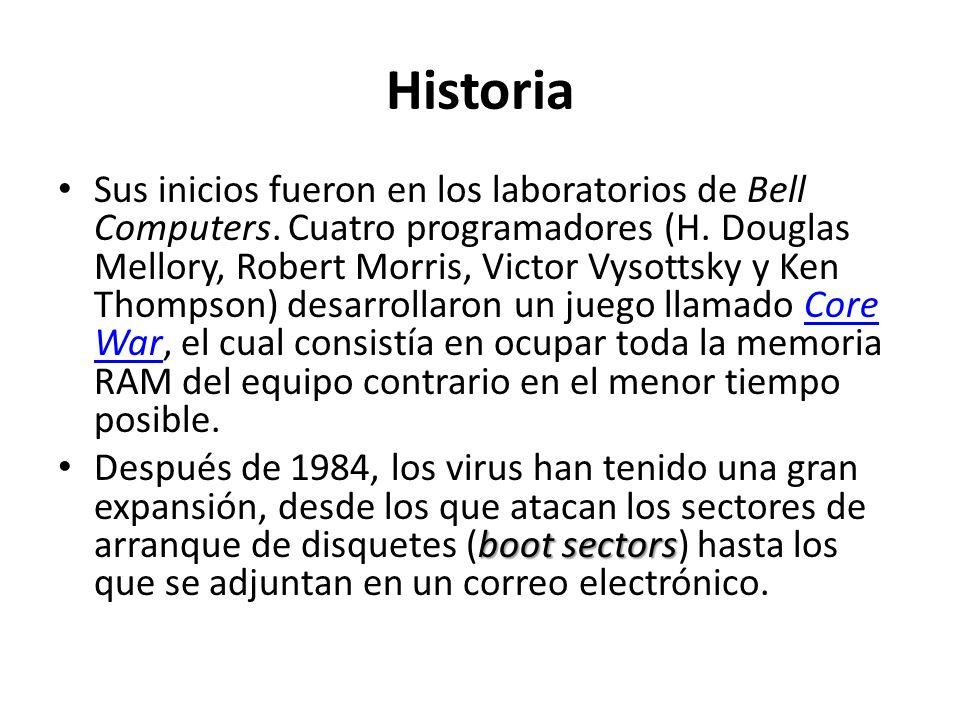 Historia Sus inicios fueron en los laboratorios de Bell Computers. Cuatro programadores (H. Douglas Mellory, Robert Morris, Victor Vysottsky y Ken Tho