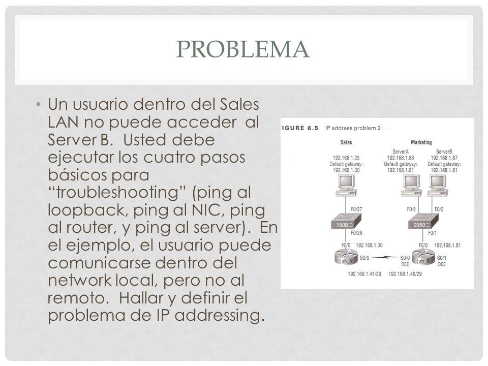 PROBLEMA Un usuario dentro del Sales LAN no puede acceder al Server B. Usted debe ejecutar los cuatro pasos básicos para troubleshooting (ping al loop