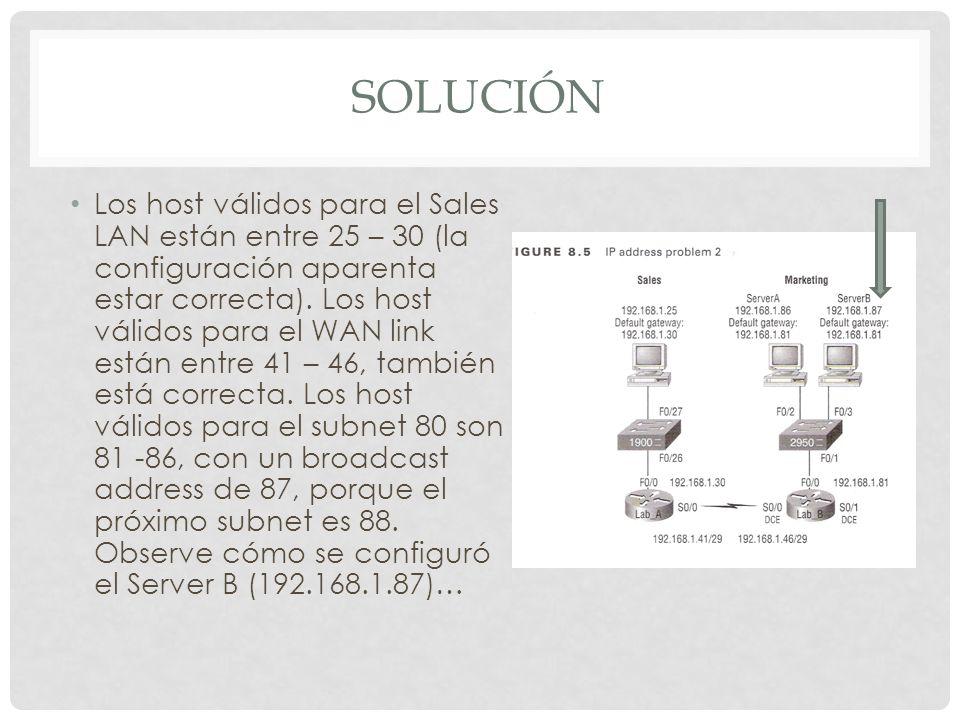 SOLUCIÓN Los host válidos para el Sales LAN están entre 25 – 30 (la configuración aparenta estar correcta). Los host válidos para el WAN link están en