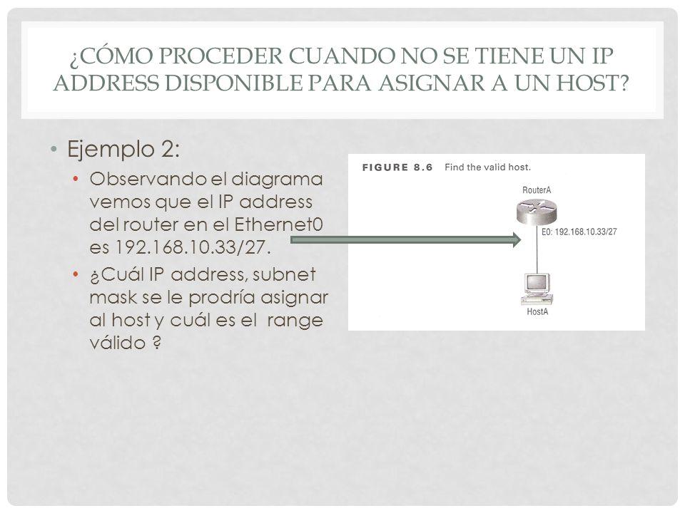 ¿CÓMO PROCEDER CUANDO NO SE TIENE UN IP ADDRESS DISPONIBLE PARA ASIGNAR A UN HOST? Ejemplo 2: Observando el diagrama vemos que el IP address del route